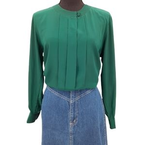 VTG 80s 90s Alyssa Carr Emerald Green Jewel Tone Pleated Button Front Blouse M